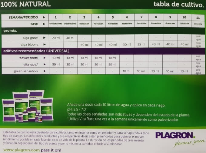 Tabla de cultivo Plagron  Bio para sustratos Light Mix